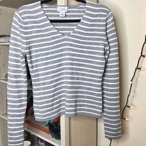 Loft V-Neck Stripped Long-Sleeve Sweater